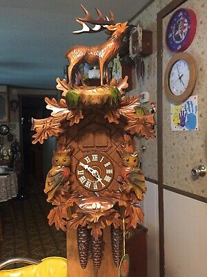 Vintage Rare Black Forest Full Buck/Owls/Eggs Musical Cuckoo Clock      Germany