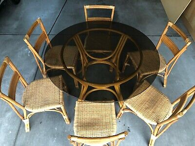 1950s Vintage Rattan Dining Table and Chairs