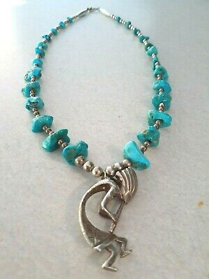 """Vintage Genuine Raw Turquoise & Sterling Silver Beaded Necklace Kokopelli 20.5"""""""