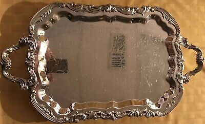 FB Rogers Large Footed Silver Plated Serving Tray 25x14.5 #6377