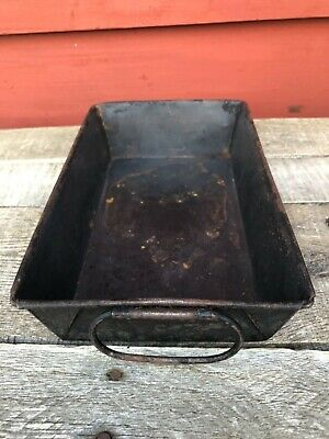 Vintage 1940's Rustic Baking Pan, Side Handle, Folded Edge, Rolled Top