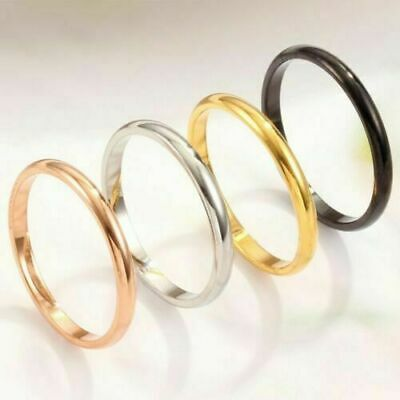 2mm Thin Stackable Ring Stainless Steel Plain Band for Women Girl Size uw