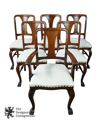 6 Antique Quarter Sawn Oak Dining Chairs Carved Paw Feet Victorian Nailhead Trim