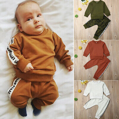 US Toddler Kid Boy Long Sleeve Shirt Pants Trousers Clothes Set Outfit Tracksuit