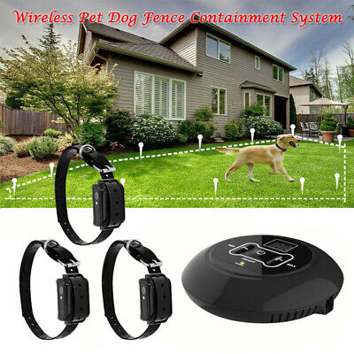 Wireless Electric Dog Pet Fence Containment System Collar Transmitter Waterproof