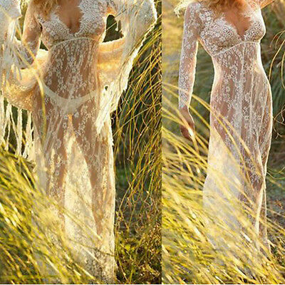 Women Maternity Photography Maxi Gown Lace Extra Pregnant Dress