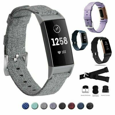 For FitBit Charge 3 Smartwatch Wrist Band Strap Nylon Canvas Wristwatch Bands