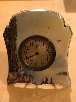 Swiss Antique Brass Gilt Paint Enamel Desk/Shelf Clock