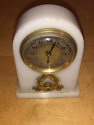 "Swiss Antique Miniature Marble Silver Gilt Clock H 3"" x W 2"""