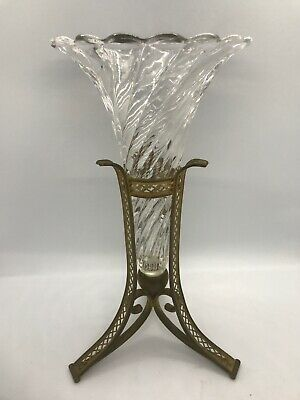 FAB! Antique Art Deco Era Swirl Twisted Clear Glass Epergne w Gilded Bronze Base
