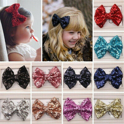 Cute Kids Girls Baby Glitter Shiny Sequin Bowknot Hair Clips Hair Bows Hairpin