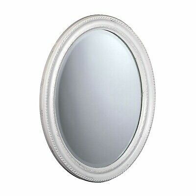 """BAROQUE STYLE OVAL WALL MIRROR   white, 18.5""""x14.5""""x1.5"""", wood   antique design"""
