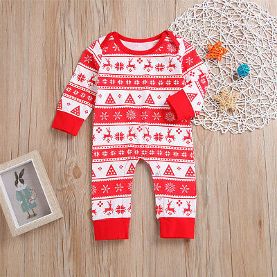 Newborn Infant Baby Boy Girl Cotton Romper Bodysuit Jumpsuit Clothes Xmas Outfit