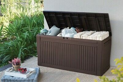 Storage Box Outdoor Garden Plastic Utility Chest Cushion Shed Box 270L Brown NEW