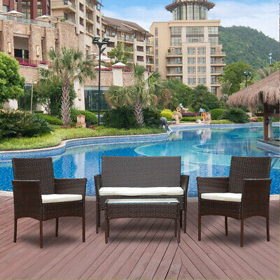 4Pcs Rattan Garden Furniture Set Patio Outdoor Table Chairs Sofa Conservatory BN
