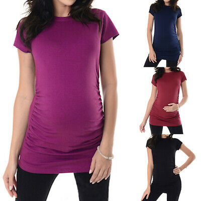 Women Maternity Pregnant Kaftan Shirt Retro Elastic Hip Casual Tops Blouse Tee