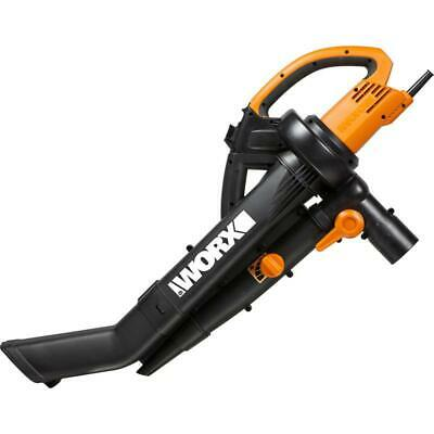 Worx WG505E 3in1 3000W Trivac Garden Blower Mulcher & Vacuum 45L Black/Orange