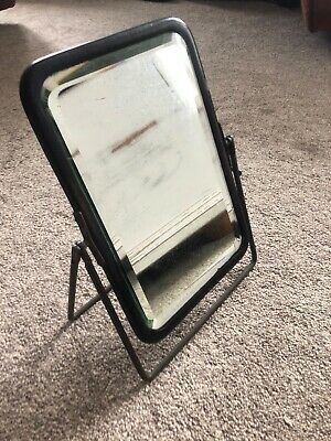 Vintage Antique Dark Ebony Wooden Metal Barbers Folding Mirror 1900s Retro Hand