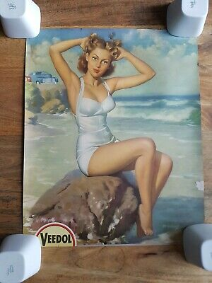 """Vintage Ad Poster Pin-Up """"Veedol"""" by Bill Medcalf 41x50 cm - Affiche pub"""