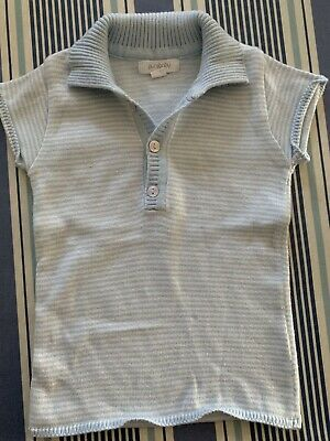Purebaby Blue Knit Polo Shirt - Size 0