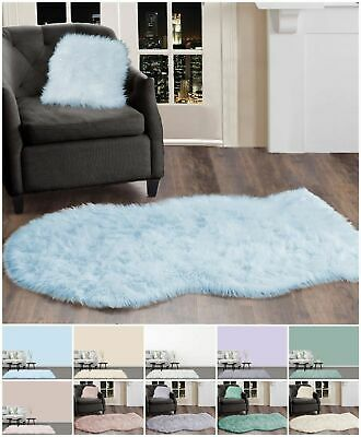 Fluffy White Grey Pink Faux Sheepskin Rug Extra Large Fur Floor Carpet Rugs Mat