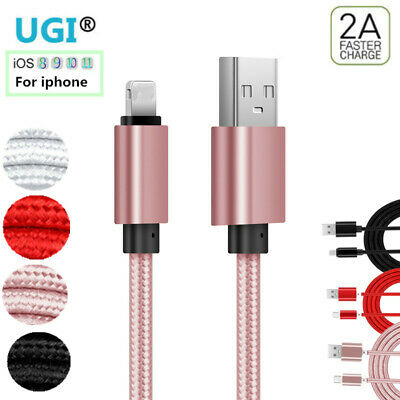 For iPhone 5 6s 7 8 XS Braided 2A Lightning Data Sync Charger USB Cable IOS Lot