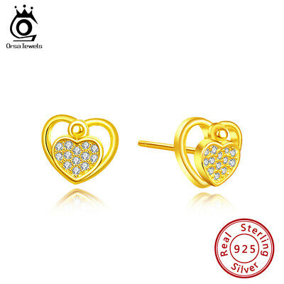 S925 Silver Double Heart Hollow Stud Earring Cubic Zirconia Women Beauty Jewelry
