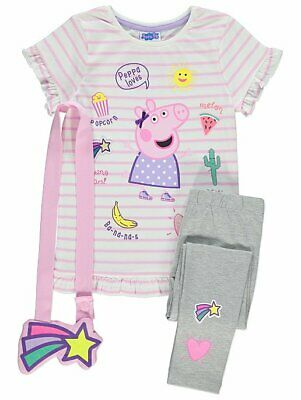 George Girls Kids Official Peppa Pig Top Leggings and Bag Outfit Set