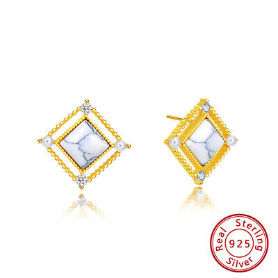 S925 Silver Square Hollow Stud Earrings Synthetic Marble Cubic Zirconia Jewelry