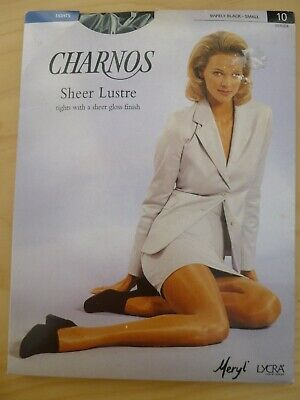 "Charnos Sheer Gloss Tights Barely Black Shine 10 Denier Leg Small (To 36"")"