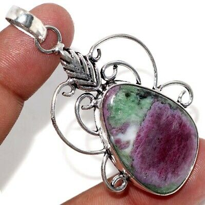 E6072 Ruby Zoisite 925 Sterling Silver Plated Pendant 2.4""