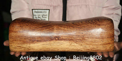 28CM Old Chinese Huanghuali Wood Dyansty Hand Carving Weeping Willow Pillow