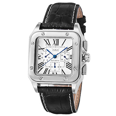 BesTn Men's Mechanical Wrist Watch Automatic Silvery Black Alloy Dial Leather