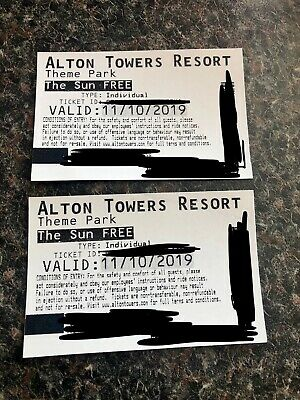 Alton Towers tickets X2 valid Friday 11th October 11/10/19