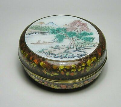 Vintage CHINESE CLOISONNE Enamelled   BRASS TRINKET BOX ~ Beautiful Piece *Label