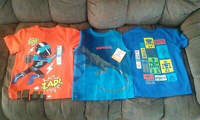 Lot 3 Shirts Short Sleeve Tank Boys Size 3T Robots Superhero Reptile Garanimals