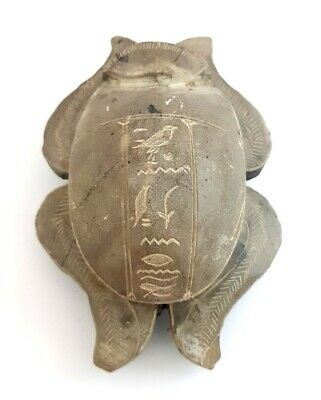 Rare unique Scarab Egyptian Ancient Bead Beetle Egypt Antique Carved Steatite
