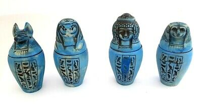 Huge ancient Egyptian Complete Set of Amarna Canopic Jars faience Antique Organs