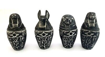 Full set of 4 Large antique Egyptian Canopic Jars stone carved Horus Anubis Hapi