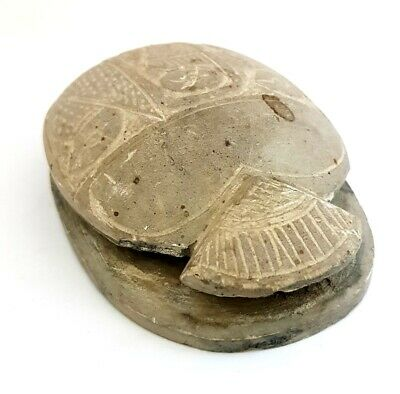 Rare Horus Scarab Egyptian Ancient Bead Beetle Egypt Antique Carved Steatite