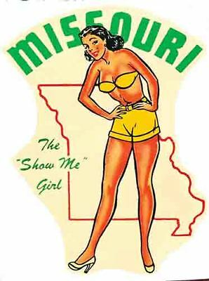 Missouri  Pin-Up Girl  Show Me State  Vintage style Travel Decal sticker