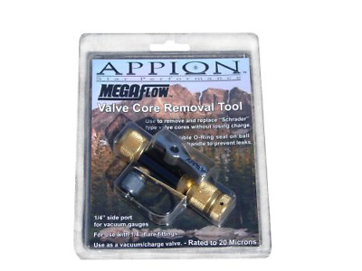 """Appion MGAVCT Mega Flow Vacuum-Rated Valve Core Removal Tool, 1/4"""" Connection,"""