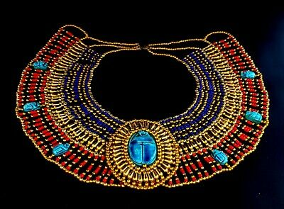beautiful Antique necklace 7 Scarabs stone Beads handmade Egyptian Faience Seal