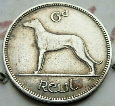 Ireland Eire Nickel Sixpence 6d Coin Wolfhound 1952 Harp (423)
