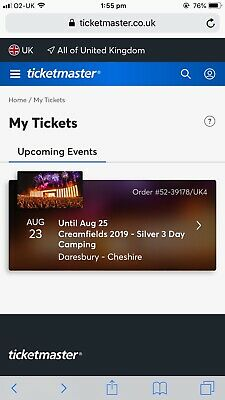 Creamfields 2019 3 Day Silver Camping Ticket