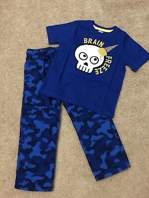Gymboree Little Boys Size 4T Brain Freeze Skull Ice Cream Top N Gymster Pants