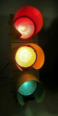 Large Vintage Econolite Traffic Signal Light With Shades/Visors Yellow Gas & Oil