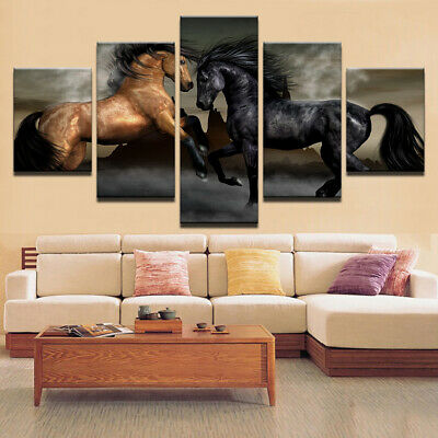 HOT NEW 5 Panel Animal Horses Picture Painting HD Canvas wall Art Home Decor