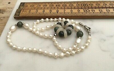 Nice Vintage Freshwater Pearl Necklace With Green Hard Stone Beads