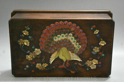 "11"" Old Chinese Huali Pear Wood inlay Shell peacock Flower storage Jewelry box"